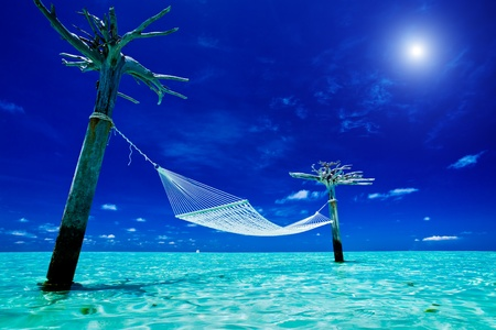 tahiti: Empty over-water hammock in the middle of exotic tropical lagoon