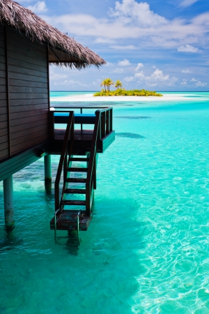 bora: Over water bungalow with steps into amazing blue lagoon