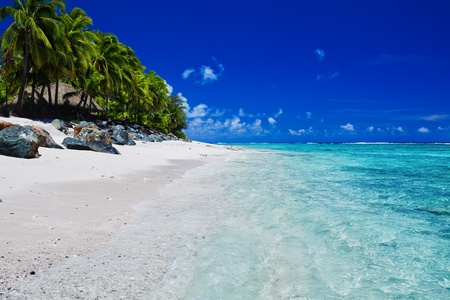 rarotonga: Tropical beach with rocks and palms on Cook Islands