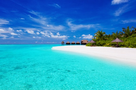 tahiti: Tropical island with palm trees and villas over turquoise lagoon