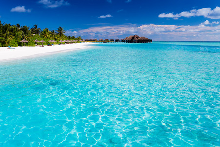 Tropical island with sandy beach with palm trees and pristine water photo