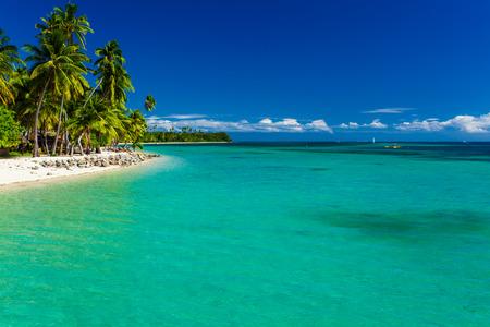 fiji: Tropical island in Fiji with sandy beach and pristine water