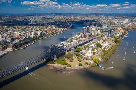 brisbane: Kangaroo Points suburb of Brisbane from the air, Story Bridge