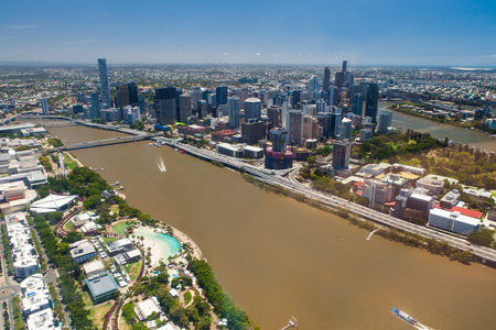 arial views: Aerial image of Brisbane River, City and South Bank, Queensland Australia
