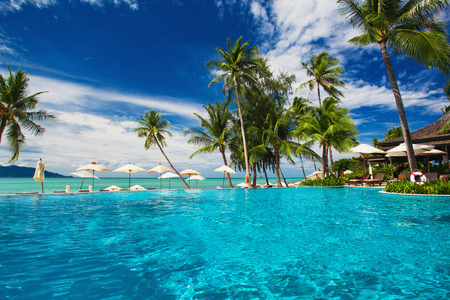 beach hotel: Large infinity swimming pool on the beach with palm trees