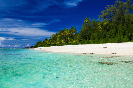 rarotonga: The best swimming beach with palm trees on tropical island Rarotonga, Cook Islands