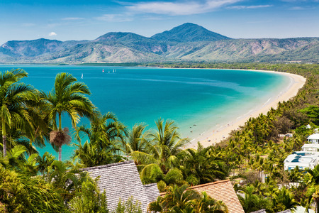 great barrier reef: Port Douglas beach and ocean on sunny day, Queensland, Australia