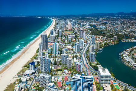 coolangatta: GOLD COAST, AUS - OCT 04 2015: Aerial view of the Gold Coast in Queensland Australia looking from Surfers Paradise down to Coolangatta