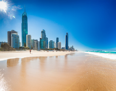 surfers paradise: SURFERS PARADISE, AUS - OCT 03 2015 Skyline and a beach of Surfers Paradise, Gold Coast. It one of Australias iconic coastal tourist destinations.