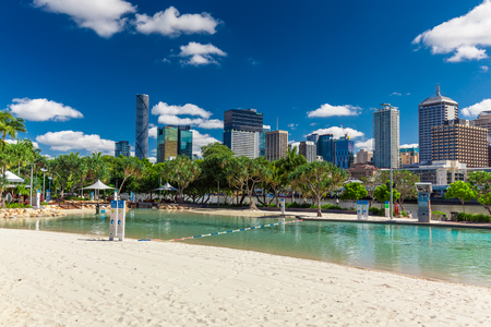 southbank: BRISBANE, AUS - NOV 18 2015: Streets Beach in South Bank Parkland. Its inner-city man-made beach next to city center.