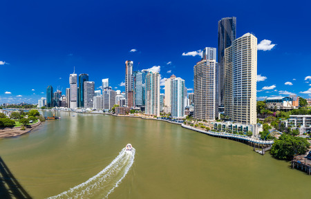 residential building: BRISBANE, AUS - NOV 18 2015: Panoramic view of Brisbane Skyline and the river on a sunny day. It is Australias third largest city, capital of Queensland.
