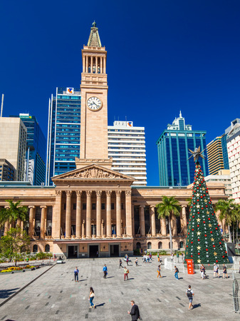 BRISBANE, AUS - Dec 11 2015: View of City Hall and King George Square in Brisbane with a Christmas tree. Editorial