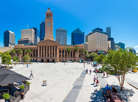 receptions: BRISBANE, AUS - OCT 21 2015: Fish eye view of Brisbane City Hall. The building is used for royal receptions, orchestral concerts, civic greetings, flower shows, school graduations and political meetings. Editorial