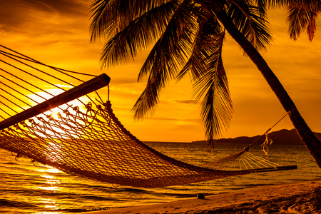 Silhouette of hammock and palm trees on a tropical beach at sunset