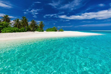 Weißer Sand tropischer Strand mit Palmen und blauer Lagune an einem sonnigen Tag