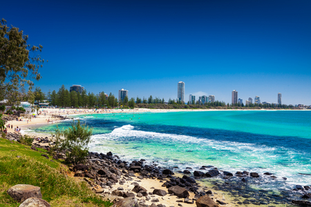 Gold Coast skyline and surfing beach visible from Burleigh Heads, Queensland Stock Photo