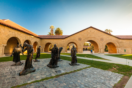 university: PALO ALTO, USA - OCT 22 2014: Stanford University and park. Stanford University is one of the worlds leading research and teaching institutions. It is located in Stanford, California.