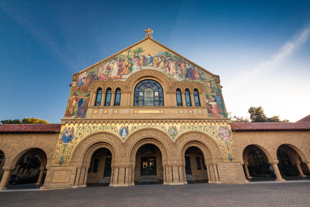 institutions: PALO ALTO, USA - OCT 22 2014: Memorial Church at Stanford University. Stanford University is one of the worlds leading research and teaching institutions. It is located in Stanford, California.