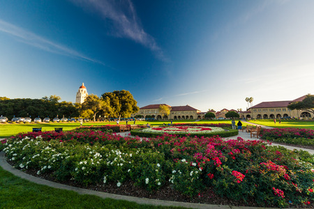 institutions: PALO ALTO, USA - OCT 22 2014: Stanford University and park. Stanford University is one of the worlds leading research and teaching institutions. It is located in Stanford, California.