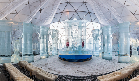 high altar: HREBIENOK, SLOVAKIA - JAN 06 2016: Ice Altar in Tatras House, Hrebienok, High Tatras. Its an altar with statues build from ice. Editorial