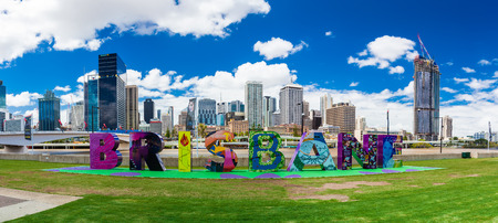 river banks: BRISBANE, AUSTRALIA - FEB 12 2016: Brisbane sign returned to South Bank, originally created for G20 Cultural Celebrations.