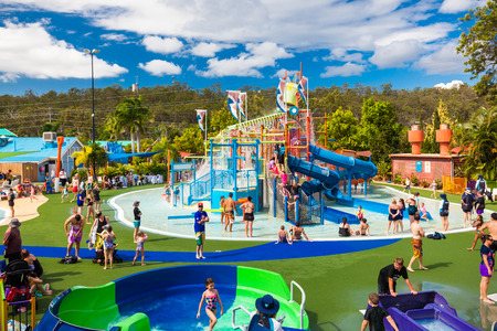 GOLD COAST, AUS - MAR 20 2016: Junior section of WetnWild Gold Coast water park, Queensland, Australia