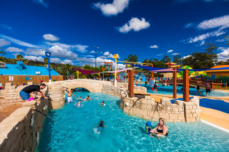 gold coast: GOLD COAST, AUS - MAR 20 2016: Junior section of WetnWild Gold Coast water park, Queensland, Australia