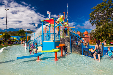 recreational: GOLD COAST, AUS - MAR 20 2016: Junior section of WetnWild Gold Coast water park, Queensland, Australia