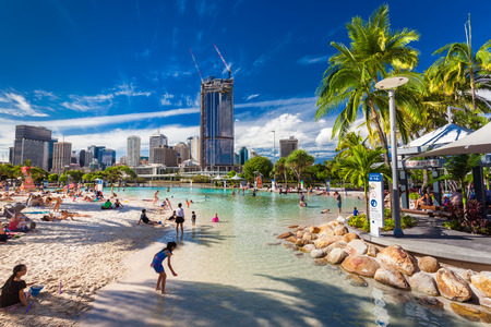 BRISBANE, AUS - APRIL 17 2016: Streets Beach in South Bank Parkland. Its inner-city man-made beach next to city center.