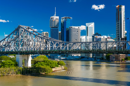 BRISBANE, AUS - JUN 7 2016: Panoramic view of Brisbane Skyline with Story Bridge and the river. It is Australias third largest city, capital of Queensland. Editorial