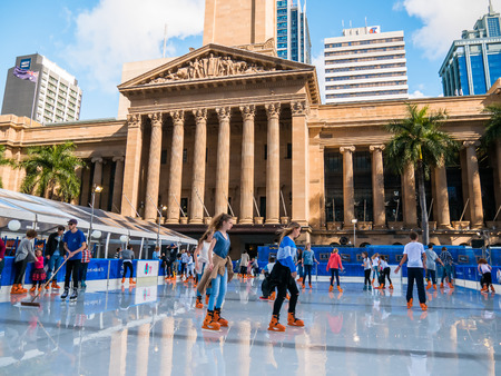 iceskating: BRISBANE, AUS - JUN 24 2016: Winter Festival in Brisbane, outdoor ice-skating, King George Square
