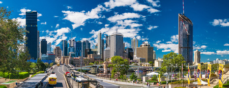 pedestrian bridge: BRISBANE, AUS - AUG 26 2016: Panoramic view of Brisbane Skyline as seen from South Bank. Editorial