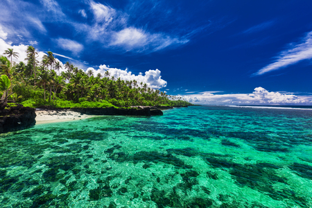 samoa: Beach with coral reef on south side of Upolu, Samoa Islands