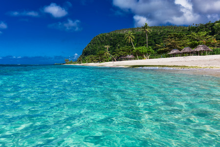 samoa: Tropical vibrant natural beach on Samoa Island with palm trees and wooden fales