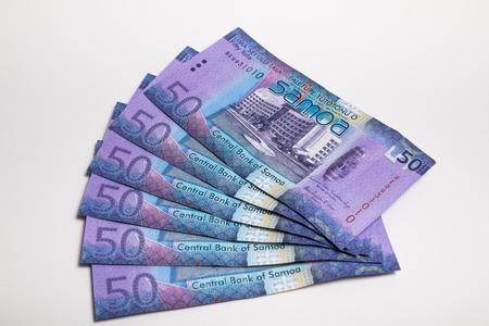 papermoney: Samoa Tala bank notes isolated on white Stock Photo