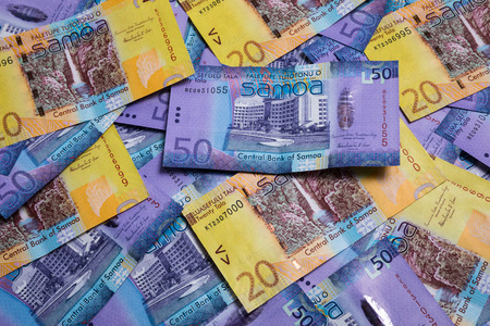 papermoney: Lots of Samoa Tala bank notes