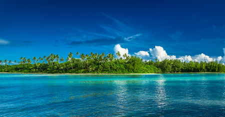 Tropical Rarotonga with palm trees and white sandy beach, Cook Islands Stock Photo