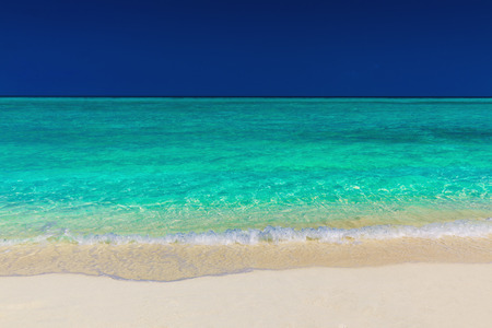 Deserted vibrant green tropical sea, sand and blue sky