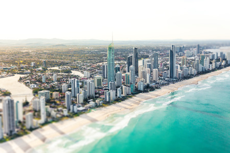 SURFERS PARADISE, AUS - SEPT 04 2016 Aerial view of Surfers Paradise on the Gold Coast, Queensland, Australia Editorial