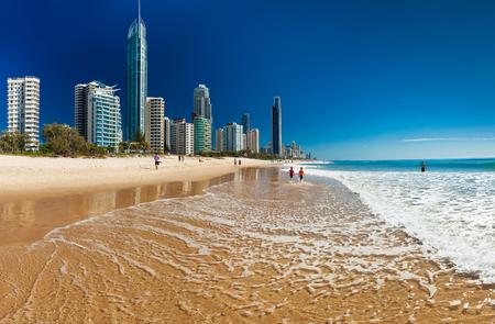 SURFERS PARADISE, AUS - SEPT 05 2016 Skyline and a beach of Surfers Paradise, Gold Coast. It one of Australias iconic coastal tourist destinations.