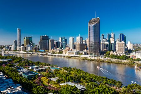 arial view: BRISBANE, AUSTRALIA - Dec 29 2016: Areal image of Brisbane CBD and South Bank. Brisbane is the capital of QLD and the third largest city in Australia