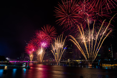 southbank: BRISBANE, AUSTRALIA, DEC 31 2016: New Year fireworks over night sky at Southbank, Brisbane, Australia