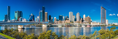 BRISBANE, AUSTRALIA, SEPT 13 2016:View of Brisbane from South Bank over the river. Brisbane is the capital of QLD and the third largest city in Australia. Editorial