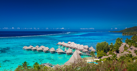 Overwater bungalows of Sofitel Hotel, Moorea, Society Islands, French Polynesia