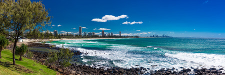 Gold Coast skyline and surfing beach visible from Burleigh Heads, Queensland, Australia Stock Photo