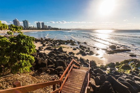 Steps on greenmount beach during sunset on Queenslands Gold Coast, Australia Stock Photo