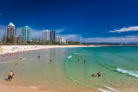 COOLANGATTA, AUS - MAY 01 2017, Coolangatta beach and Rainbow Bay, Gold Coast, Queensland, Australia