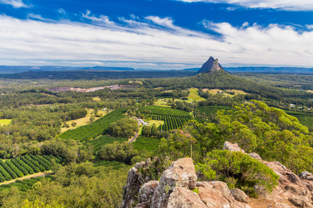 アンガンをマウント、ガラス家山、サンシャインコースト、クイーンズランド州、オーストラリアの頂上からの眺め