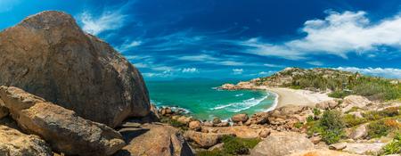 Panoramic view of Horseshoe Bay at Bowen - iconic beach with granite climbing rocks, north Queensland, Australia Stock Photo