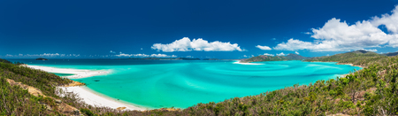 Panoramic view of the amazing Whitehaven Beach in the Whitsunday Islands, Queensland, Australia